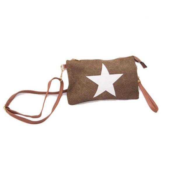 bolso marron estrella blanca