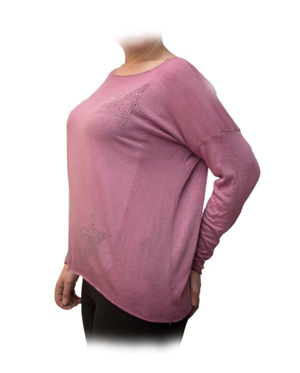 blusa rosa estrellas perfil