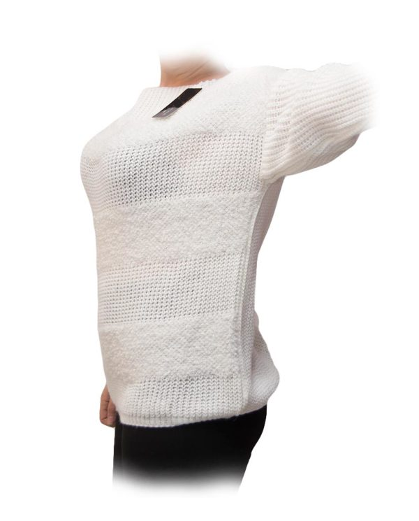 jersey blanco rallas blancas perfil