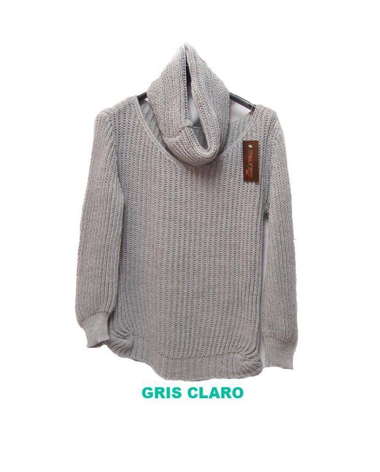 jersey con cubre cuello gris claro