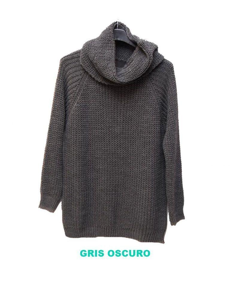 jersey con cubre cuello gris oscuro