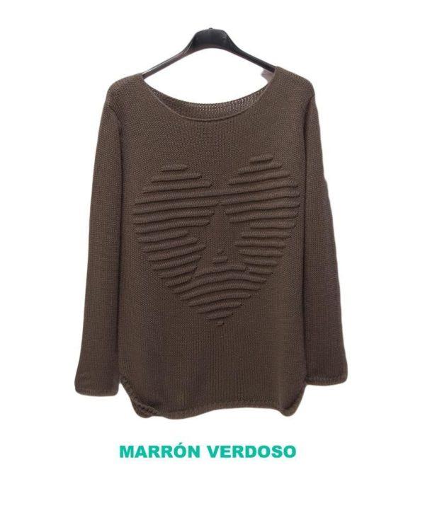 jersey corazón marrón verdoso