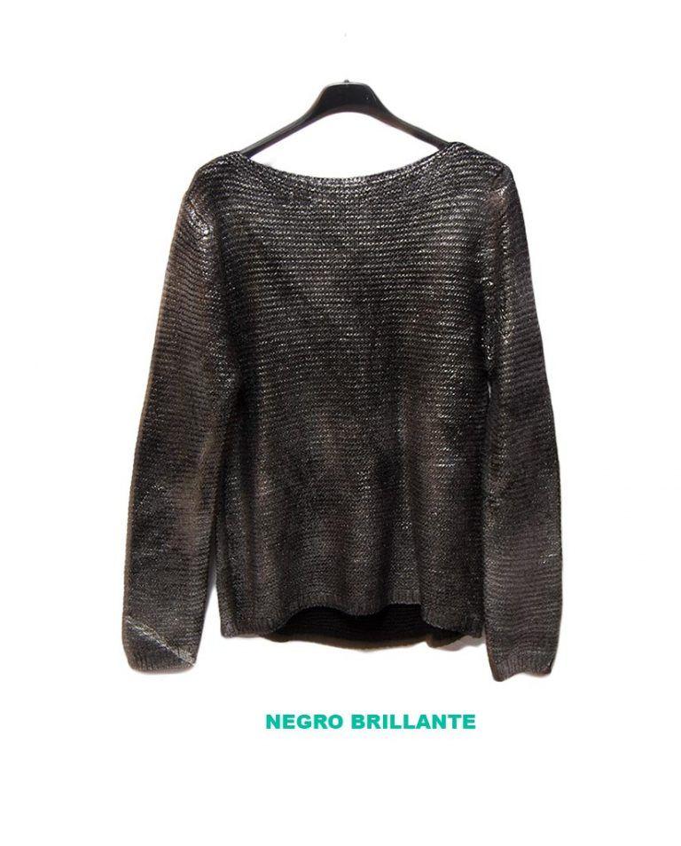 jersey elegante negro brillo