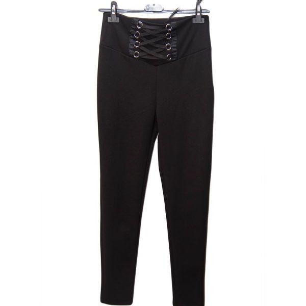 pantalon negro cordones cruzados percha