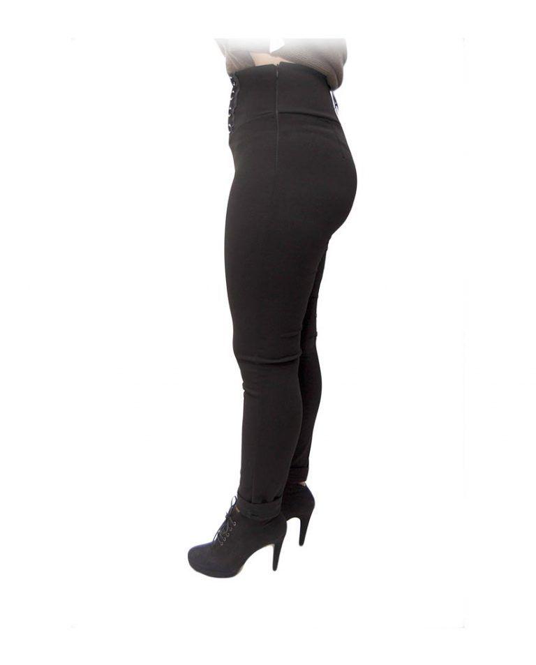 pantalon negro cordones cruzados perfil
